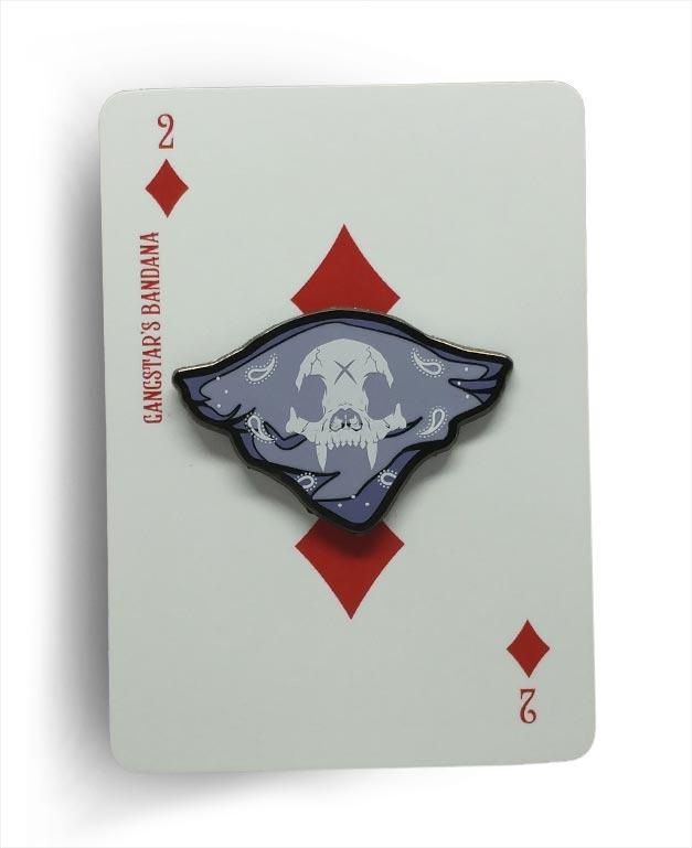 Gangstar Bandana Bear Knuckle Skull Hard Enamel Sreen Printed Pin On Playing Card Backer By Respect