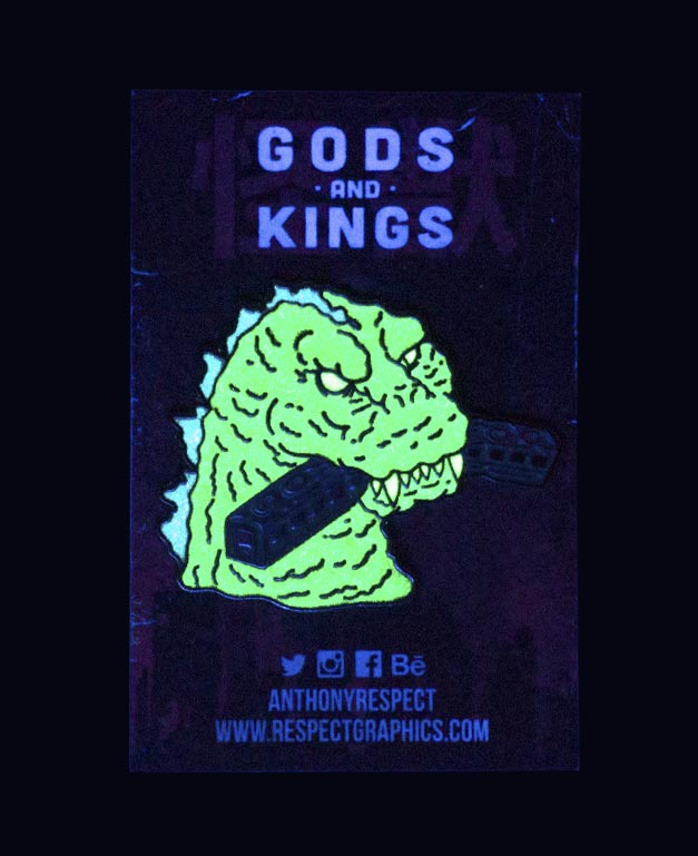 Gojira 54 Train Biter Techinicolor Edition Glowing Black Nickel Finish Kaiju Gods and Kings Enamel Pin By Respect
