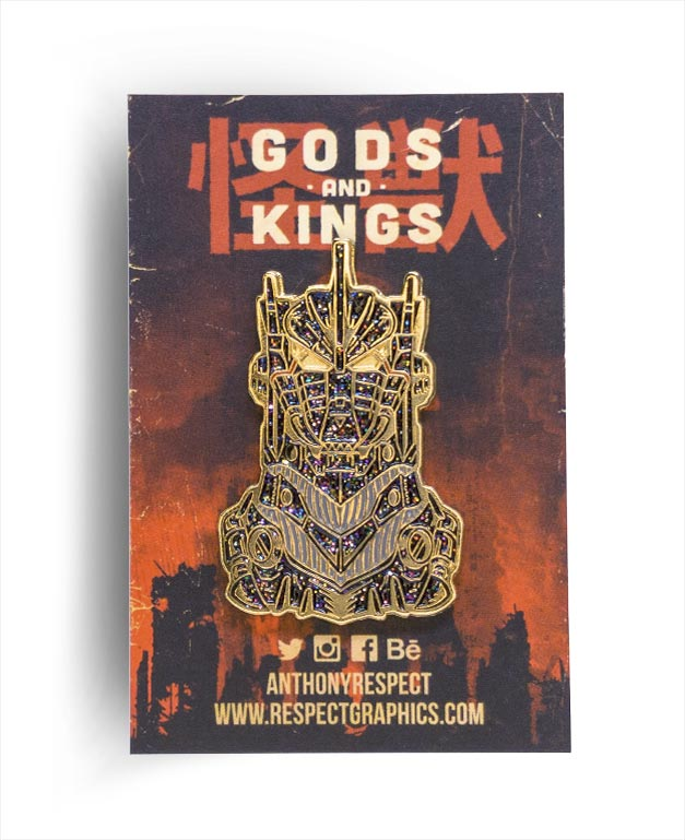 Kiryu Mechagodzilla Void Limited Edition Gold Finish Kaiju Gods and Kings Enamel Pin By Respect