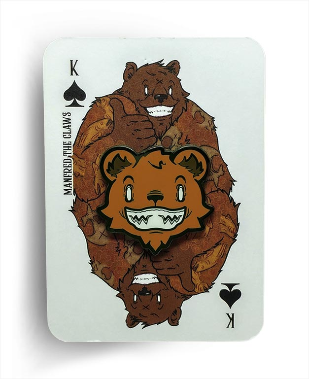 Manfred The Claws Bear Knuckle Black Nickel Hard Enamel Pin On Playing Card Backer By Respect