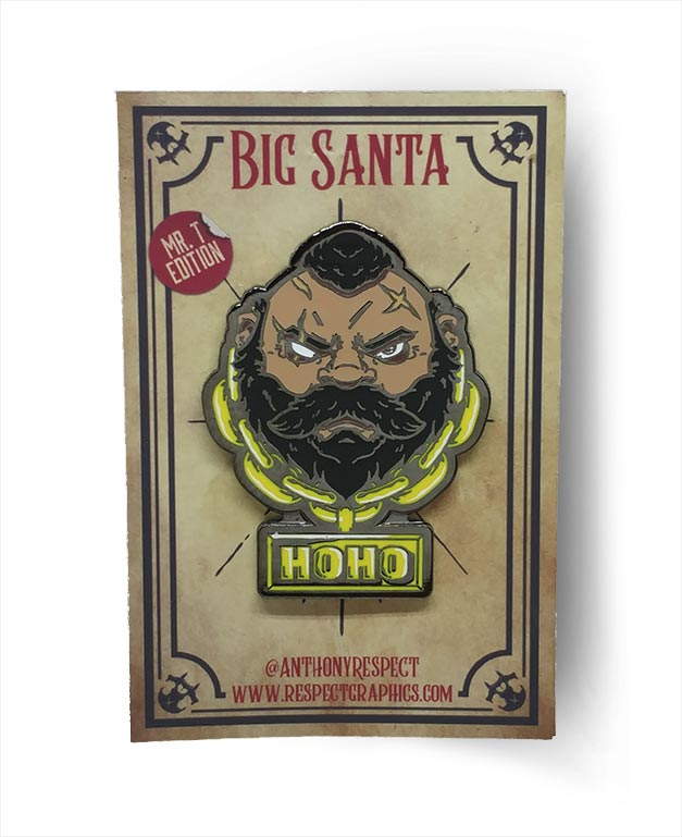 Santa Claus MrT Limited Edition Black Nickel Screenprinted Hard Enamel Pin With Hoho Gold Chain By Respect